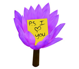 Water lily with sticky note