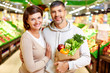Couple in supermarket