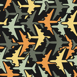 Seamless background pattern with airplanes. Vector illustration.