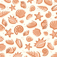Seashells background. Vector