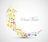abstract colorful music notes line wave background vector