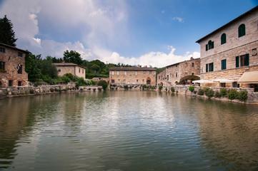 Old thermal baths in the medieval village Bagno Vignoni
