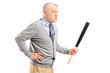 Angry middle aged man holding a baseball bat