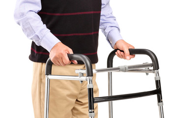 Senior man using a walker