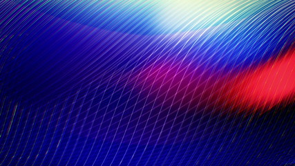 (Loop) White curves wavy moving on deep blue background.