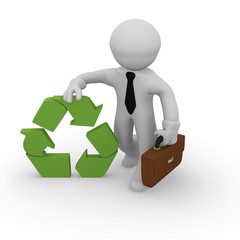 3d business man with a recycling icon