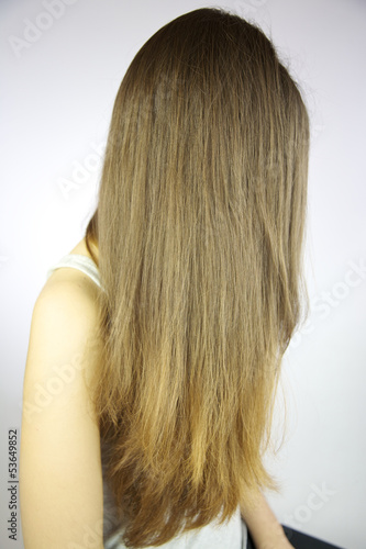 Head with long beautiful hair posing