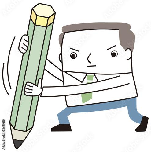 鉛筆を使うビジネスマン
