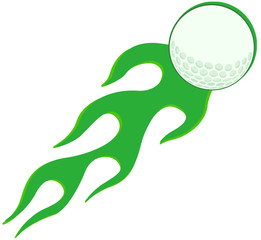Flaming Golf Ball In Green