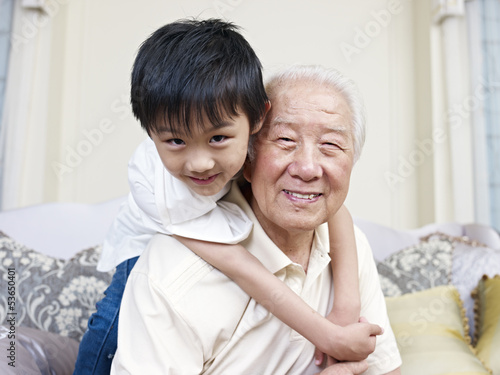 grandpa and grandson having fun at home