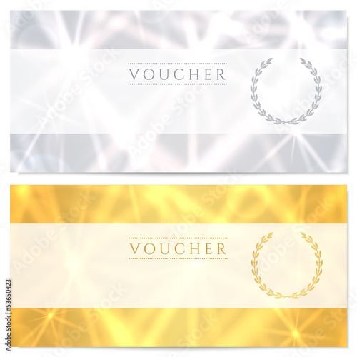 Gift certificate / Voucher / Coupon template. Gold, silver
