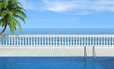 Empty swimming pool near the sea