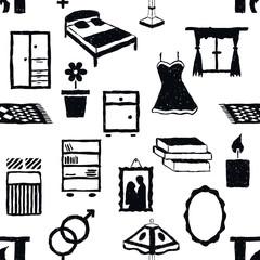 seamless doodle bedroom pattern