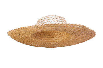 Straw hat for collages isolated on white