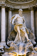 "Detail of the ""Trevi Fountain"" in Rome, Italy"