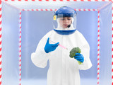person in protective suit injecting a vegetable