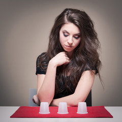 Young woman making a choice concept.