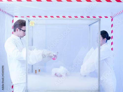 experimenting with liquid nitrogen in containment tent
