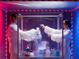 mixing chemicals in a sealed enclosure poster