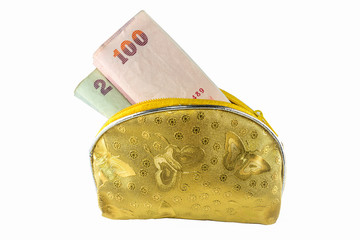 yellow wallet with Thai Paper Currency on the white background