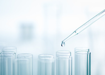 Liquid drop from pipette to test tube