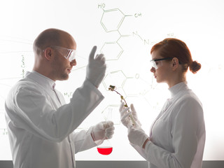 Two young scientists making a chemical experment