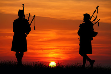 pipers at sunset