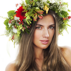 Beauty with flower wreath