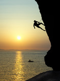 Free climbing at sunset