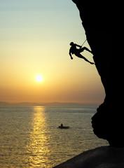 Free climbing at sunset