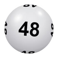 Loto, boule blanche numéro 48