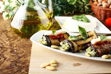 Eggplant rolls stuffed with almond pesto