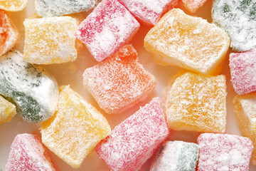 Turkish colorful delight. Macro. Food background