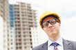 successful engineer with glasses and helmet
