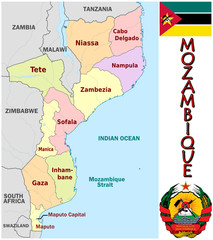 Mozambique Africa national emblem map symbol motto