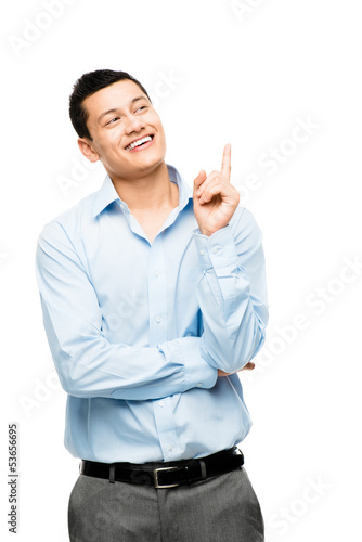 asian businessman has idea isolated on white