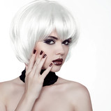 Fashion Style Woman. Beauty Woman Portrait with White Short Hair