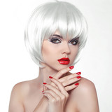 Woman Makeup and Polish nails. Red Lips and Manicured Hands. Fas