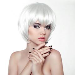 Woman Makeup and Manicured polish nails. Fashion Style Beauty Fe