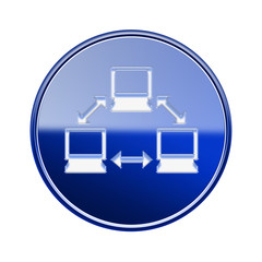 Network icon glossy blue, isolated on white background.