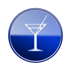 wineglass icon glossy blue, isolated on white background.