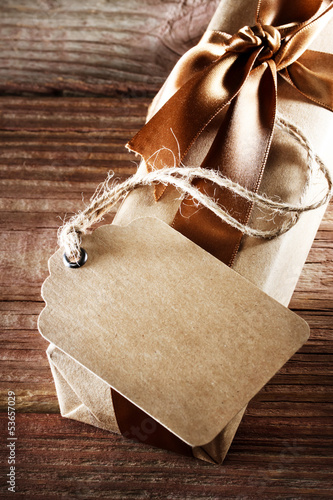 Handmade paper tag with gift box