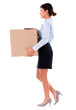 Business woman holding cardboard box