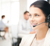 female helpline operator in call center