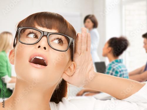 student girl listening gossip at school