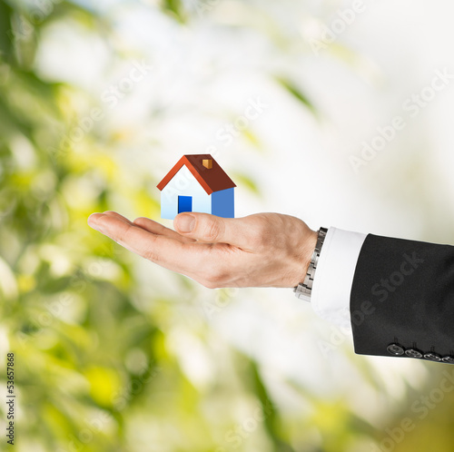 man hands holding eco house
