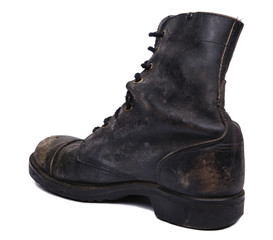 Isolated Used Army Boot - Diagonal Heel