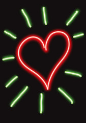Red neon heart with green shining rays