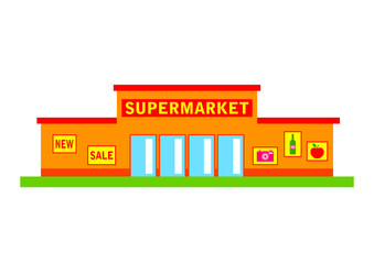 Supermarket on white background