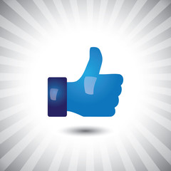 Concept vector- glossy, stylish social media like hand icon(Symb